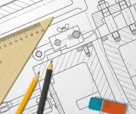 Engineer design drawings template vector 07