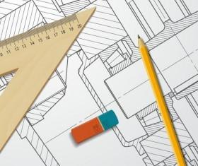 Engineer design drawings template vector 09