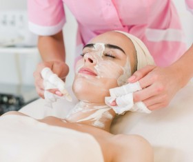 Facial care and maintenance Stock Photo