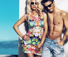 Fashion male and female models Stock Photo