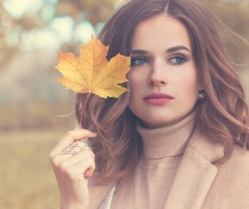 Fashion models in fall Parks Stock Photo 06