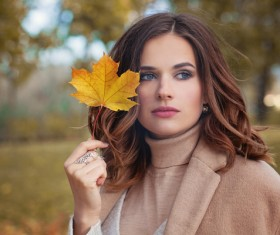 Fashion models in fall Parks Stock Photo 09
