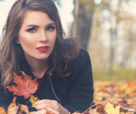 Fashion models in fall Parks Stock Photo 12