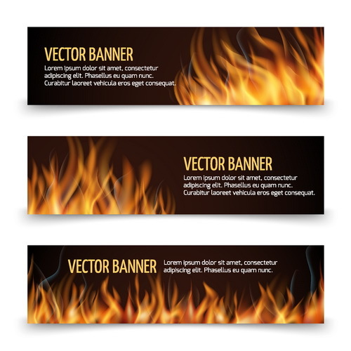 Fire banners template vector 01