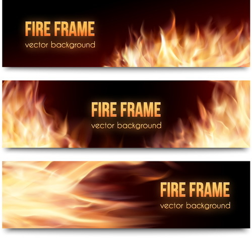 Fire banners template vector 02