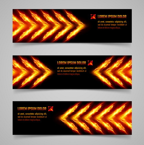 Fire with arrow banner vector