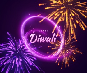 Firework effect with Diwali background vector 01