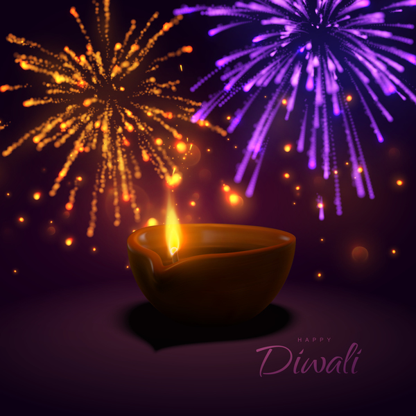 Firework effect with Diwali background vector 02
