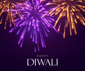 Firework effect with Diwali background vector 03