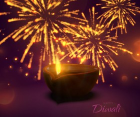Firework effect with Diwali background vector 04