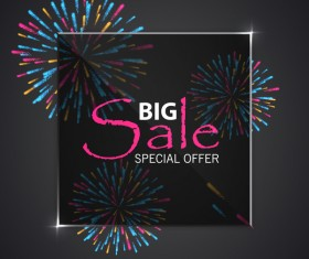 Fireworks with sale background vector 01