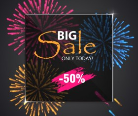 Fireworks with sale background vector 02