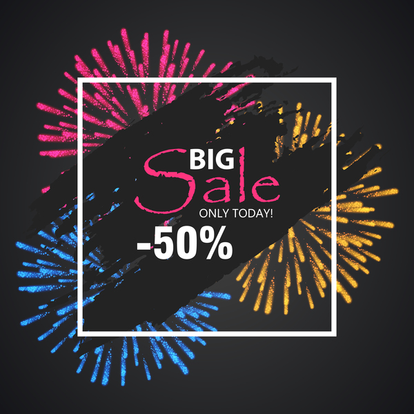 Fireworks with sale background vector 04