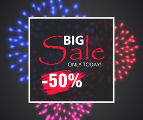 Fireworks with sale background vector 08