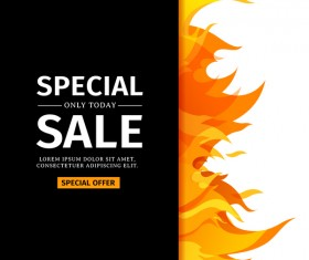 Flame cover special sale vector template 01