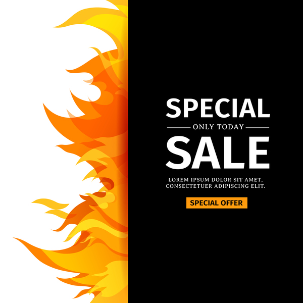 Flame cover special sale vector template 02