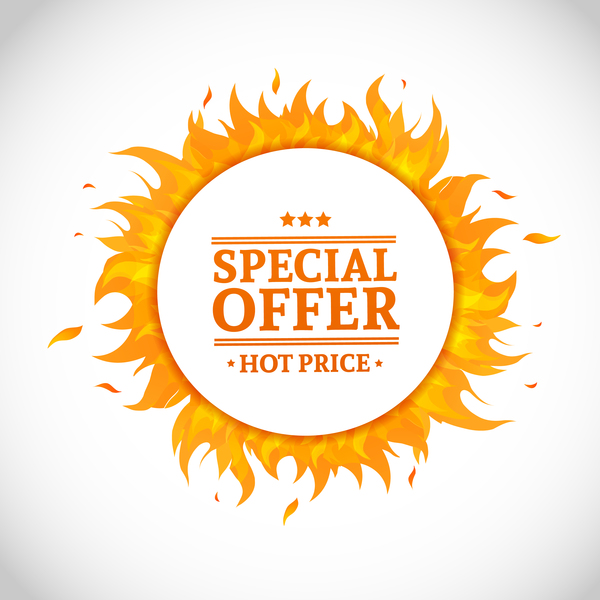 Flame frame with sale background vector
