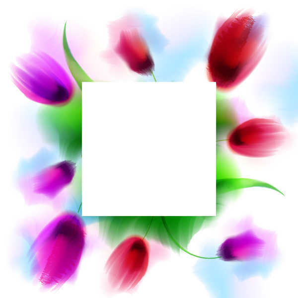 Flower frame with blank background vector