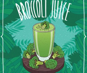 Fresh broccoli juice poster vector