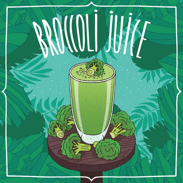 Fresh broccoli juice poster vector