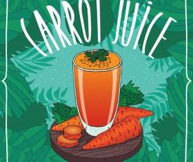 Fresh carrot juice poster vector