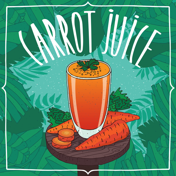 Fresh carrot juice poster vector