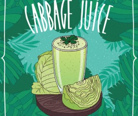 Fresh green cabbage juice poster vector