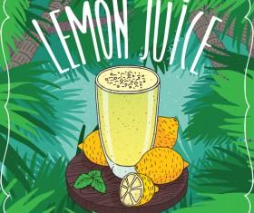 Fresh lemon juice poster vector