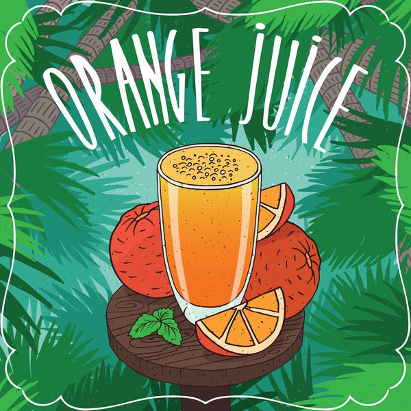 Fresh orange juice poster vector