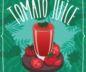 Fresh tomato juice poster vectors