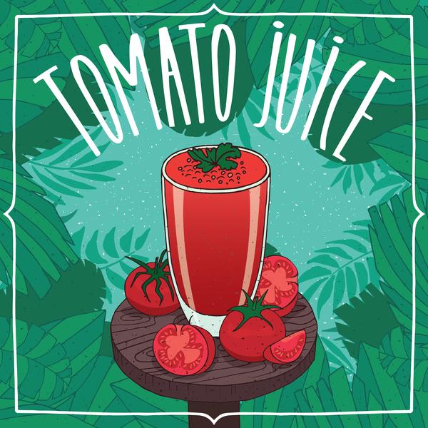 Fresh tomato juice poster vectors