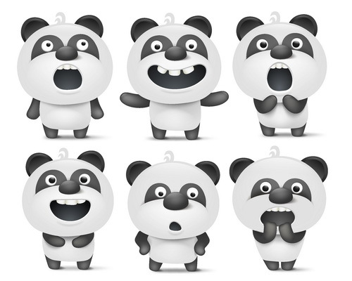 Funny panda vector set