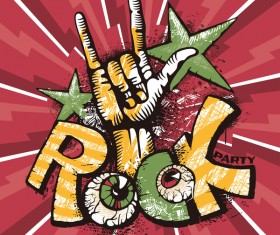 Funny rock poster grunge vector 01