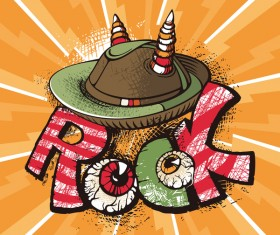 Funny rock poster grunge vector 04