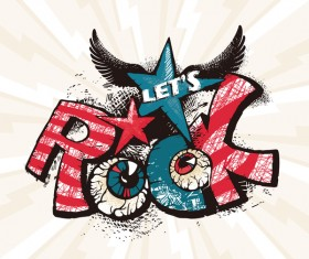 Funny rock poster grunge vector 05