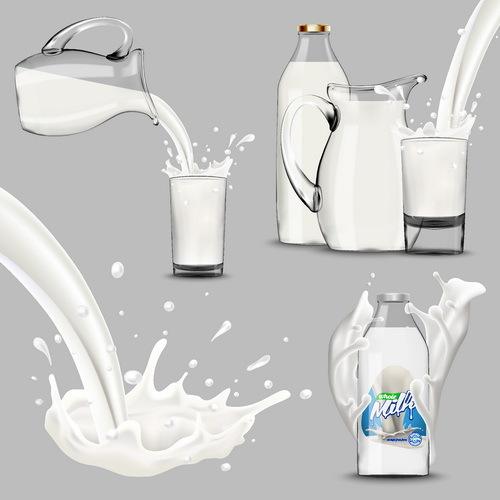 Glass bottle with milk splashing vector