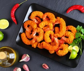 Golden fried shrimp and red pepper Stock Photo