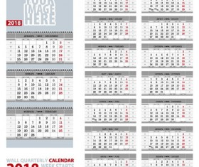 Gray desk 2018 calendar vector template