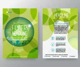 Green abstract flyer template vector