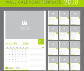 Green calendar 2018 templates vector