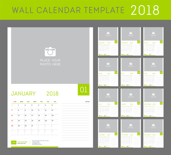 Green Calendar Templates Vector Free Download - Photo calendar template 2018