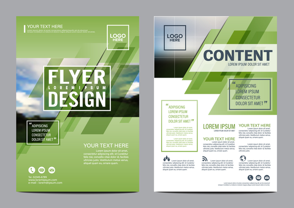 Green flyer cover vector design