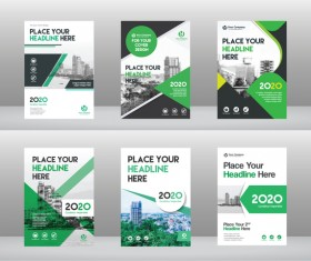 Green styles brochure with flyer cover vector