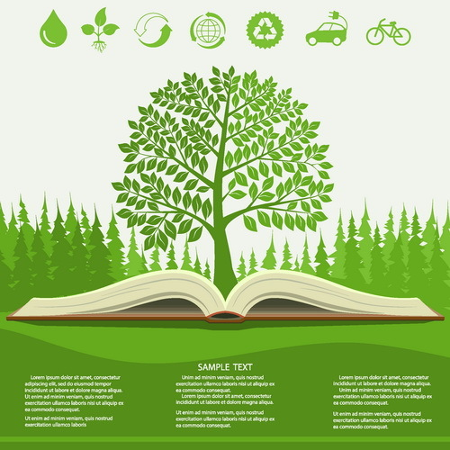 Green tree with book and Eco infographic vector