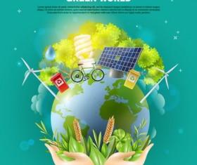 Green world poster vector template