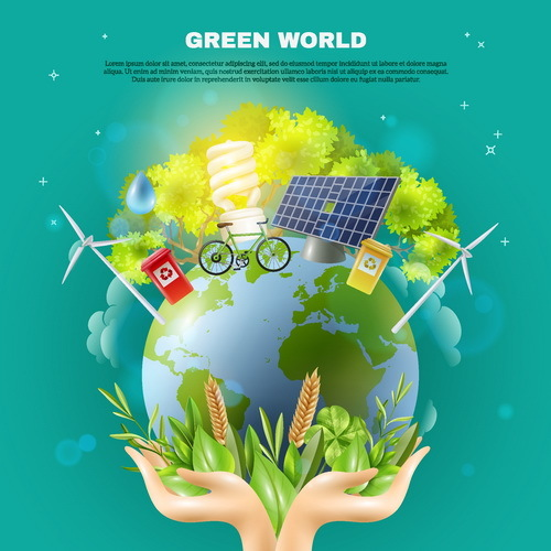 Green world poster vector template - Vector Cover free ...