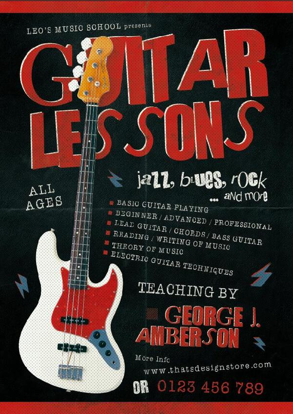 Guitar Lessons Flyer Psd Template