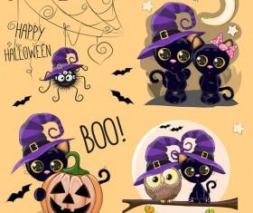 Halloween cartoon cute animal vector