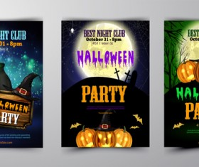 Halloween flyer and cover brochure template vector 03