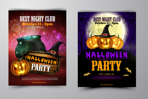 Halloween Flyer And Cover Brochure Template Vector 08